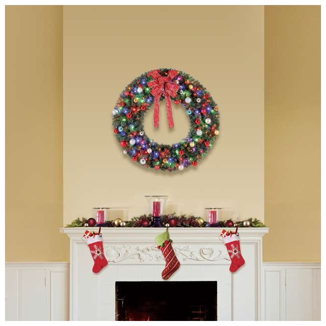 GD4000CYKD00 Home Heritage 48 Inch Holiday Christmas Wreath X976 Tips w/ 200 Color LED Lights 3