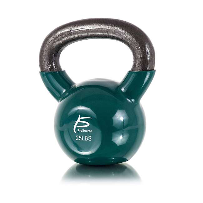 ps-1964-vck-25 Prosource Fit 25 Pound Vinyl Coated Easy Grip Solid Cast Iron Kettlebell, Green 1