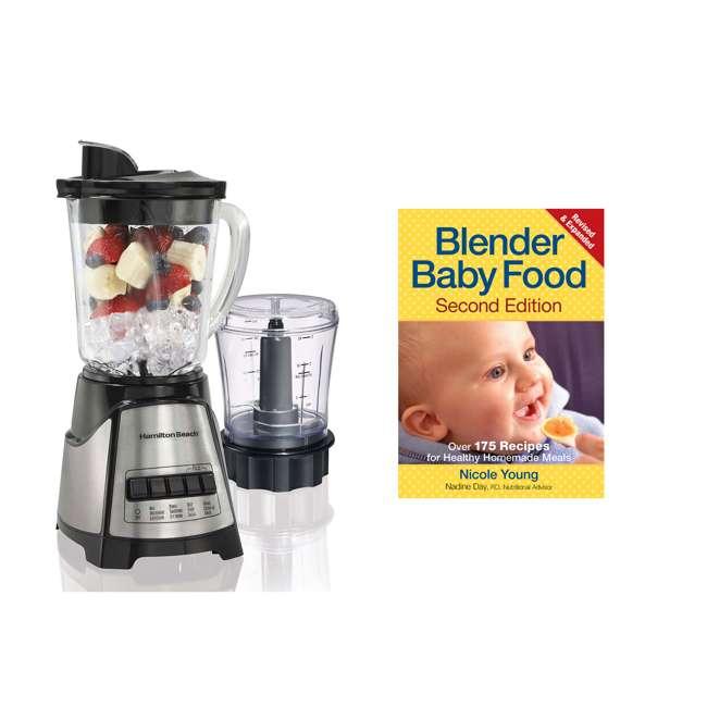 58149 + BABYFOODBLEND Hamilton Beach 2-In-1 Crusher Blender Chopper with Blender Baby Foods Cookbook