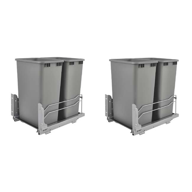 53WC-2150SCDM-217-20 Rev A Shelf Double 50 Quart Kitchen Undermount Pullout Waste Container (2 Pack)