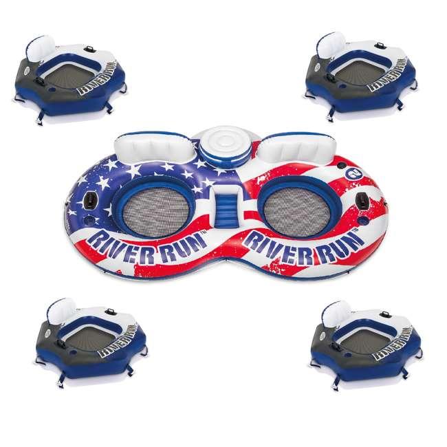 56855VM + 4 x 58854EP Intex American Flag 2 Person Float w/ River Run 1 Person Tube, Blue (4 Pack)