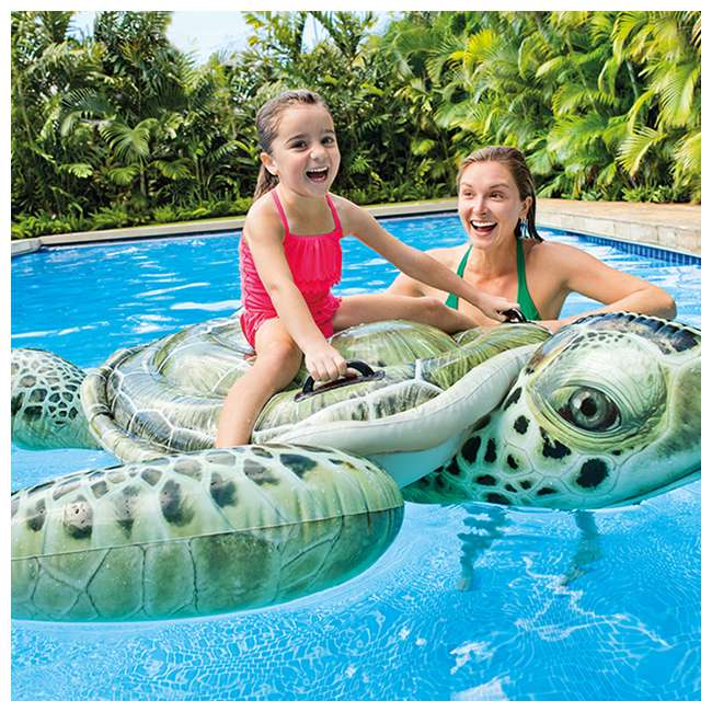 57555EP-U-B Intex Realistic Sea Turtle Inflatable Ride-On Pool Float with Handles (Used) 3