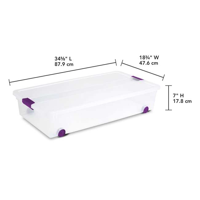 12 x 17611704-U-A Sterilite 60 Quart ClearView Latch Lid Wheeled Underbed Box (Open Box) (12 Pack) 3