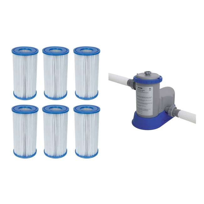 6 x 58012E-BW + 58390E-BW Bestway Pool Filter Pump Cartridge Type-III (6 Pack) + Pool Filter Pump System