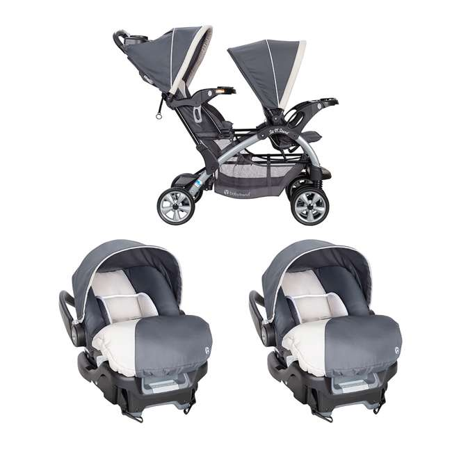 SS76C81A + 2 x CS79C81A Baby Trend 5 Point Harness Double Stroller & 35 Pound Infant Car Seat w/ Car Base
