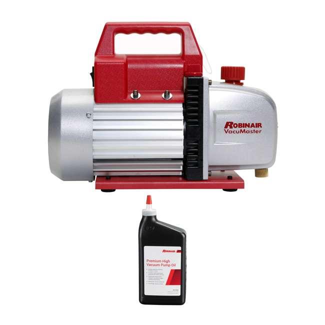 ROB-15500 + ROB-13203-1PK Robinair Heavy Duty 1/3 Horsepower 2 Stage Vacuum Pump with Pump Oil (1 Quart)
