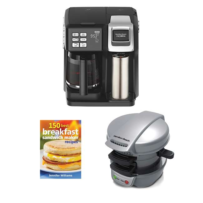 49976 + 25475 + BKFSTMKR100 Hamilton Coffee Maker w/ Press Breakfast Sandwich & Recipe Book