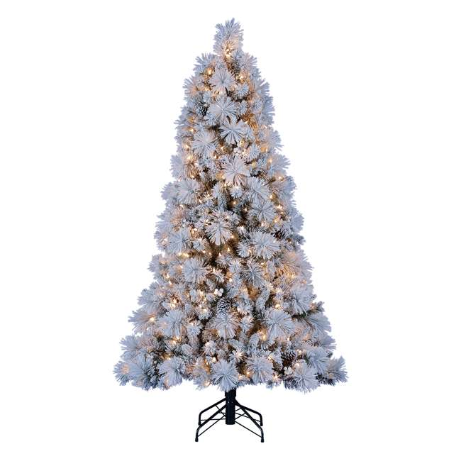 TG66M4E42S08 Home Heritage Snowdrift Spruce 6.5 Foot Flocked Christmas Tree with White Lights