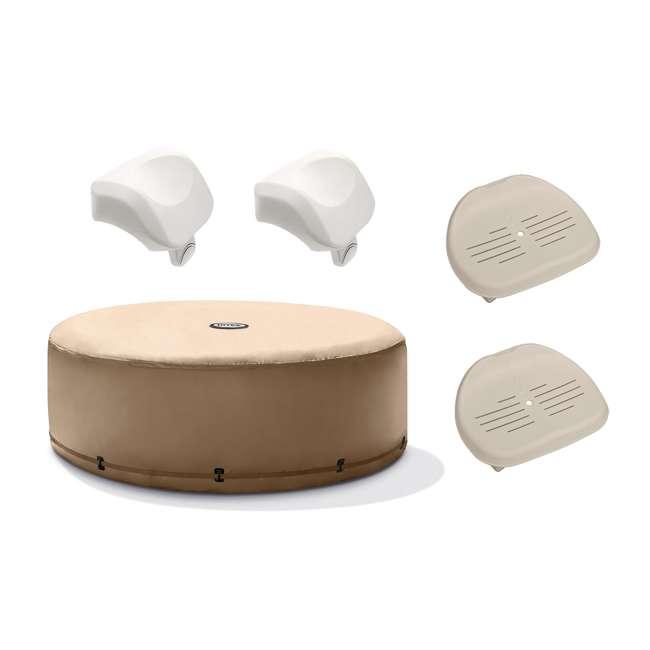 28523E + 2 x 28505E + 2 x 28502E Intex PureSpa Hot Tub Cover w/ Foam Headrest (2 Pack) & Removable Seat (2 Pack)