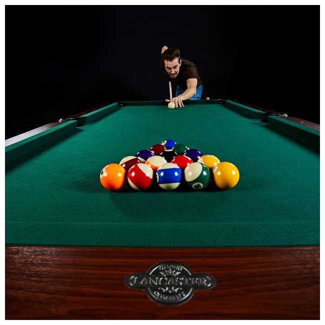 BLL090_128P Lancaster 90-Inch Full Size Green Pool Table w/ Leather Pockets, Cues, and Chalk 7