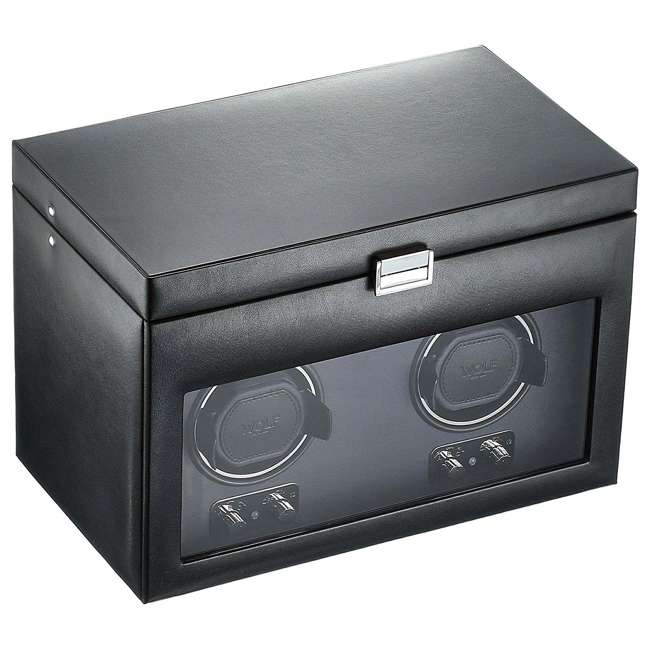 270402 WOLF 270402 Heritage Compact Electric Double Watch Winder Case with Cover, Black