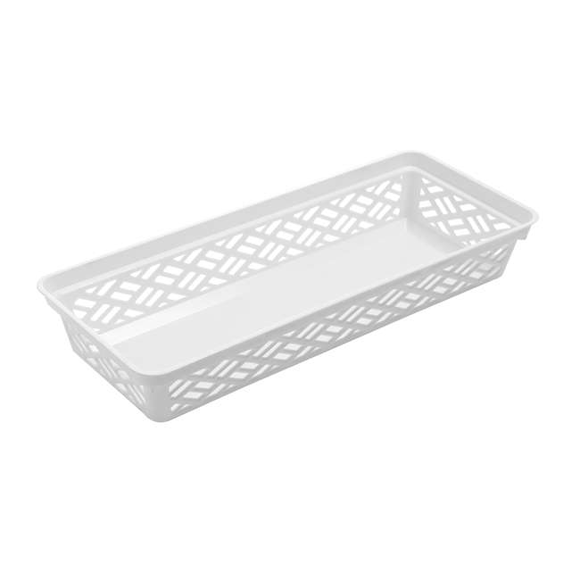 FBA32135 Ezy 32135 Long Brickor Plastic Storage Household Organization Basket, White