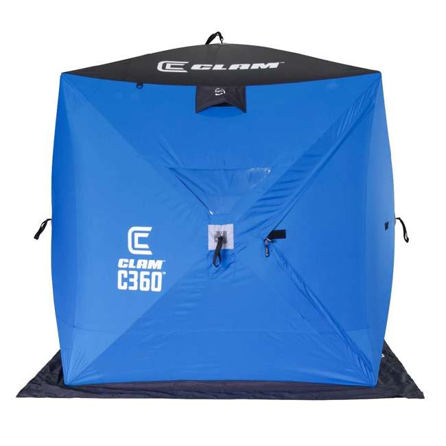 CLAM-14474 Clam 14474 C-360 Portable 6 x 6 Foot Pop Up Ice Fishing Angler Hub Shelter, Blue