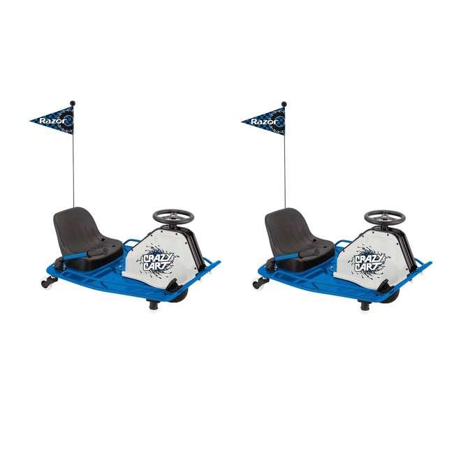 25143442 Razor Adult Electric High Torque Motorized Drifting Crazy Cart, Blue (2 Pack)