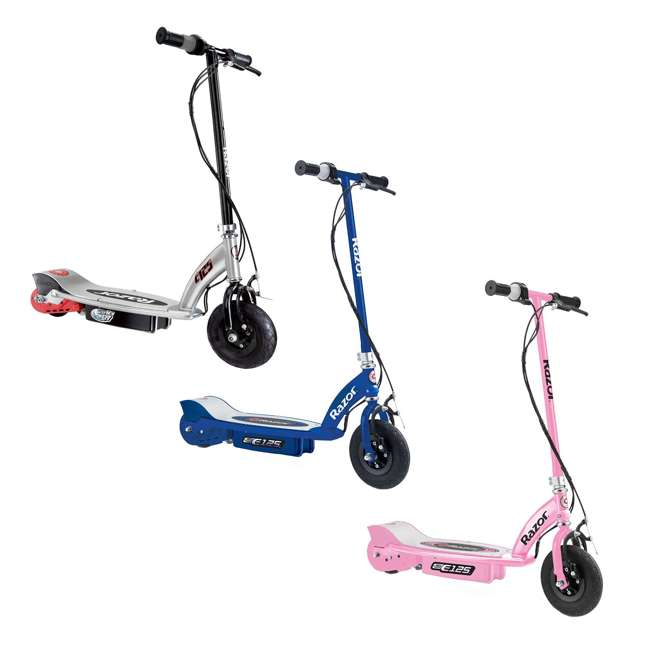 13111163 + 13111141 + 13125E-BK Razor E125 Motorized Rechargeable Electric Scooters, 1 Pink, 1 Blue, & 1 Black