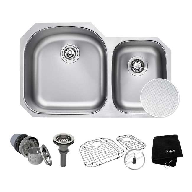 KBU23E-OB Kraus Outlast 33-Inch Stainless Steel Undermount Double Bowl Sink (Open Box)
