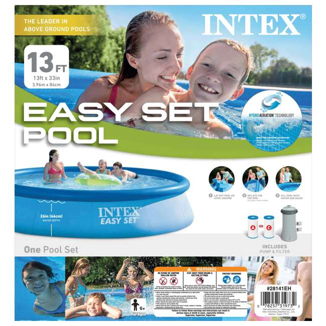 """28141EH-U-C Intex 13' x 32"""" Easy Set Above Ground Pool Kit & 530 GPH Filter Pump (For Parts) 6"""