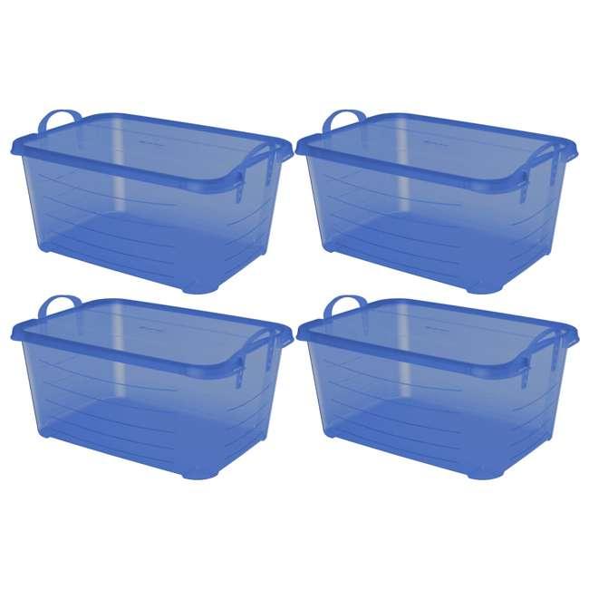 4 x CS-50TB Life Story Blue Closet Organization & Storage Box Container, 55 Quart (4 Pack)
