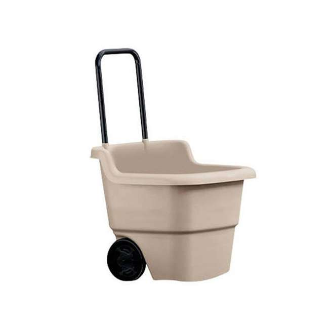 4 x LC1250D Suncast 15 Gallon Poly Multipurpose Rolling Lawn and Garden Cart, Taupe (4 Pack) 2