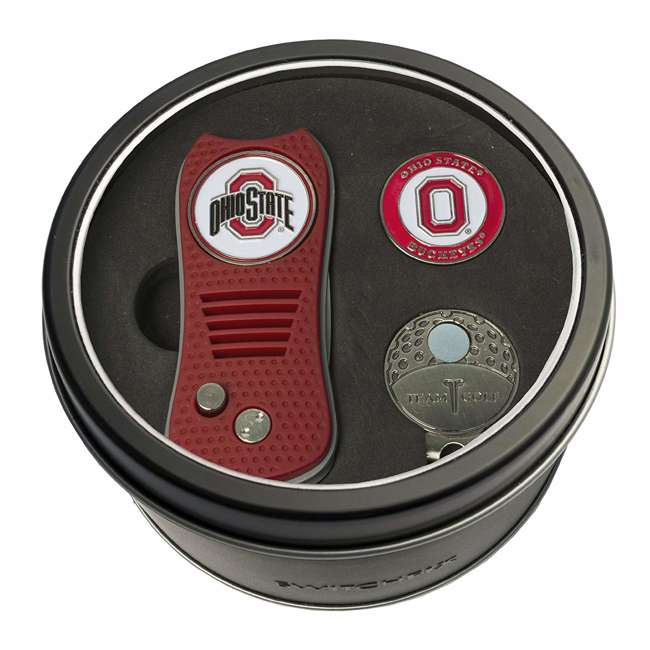 22857 Team Golf Ohio State Buckeyes Tin Golf Gift Set with Divot Tool, Cap Clip