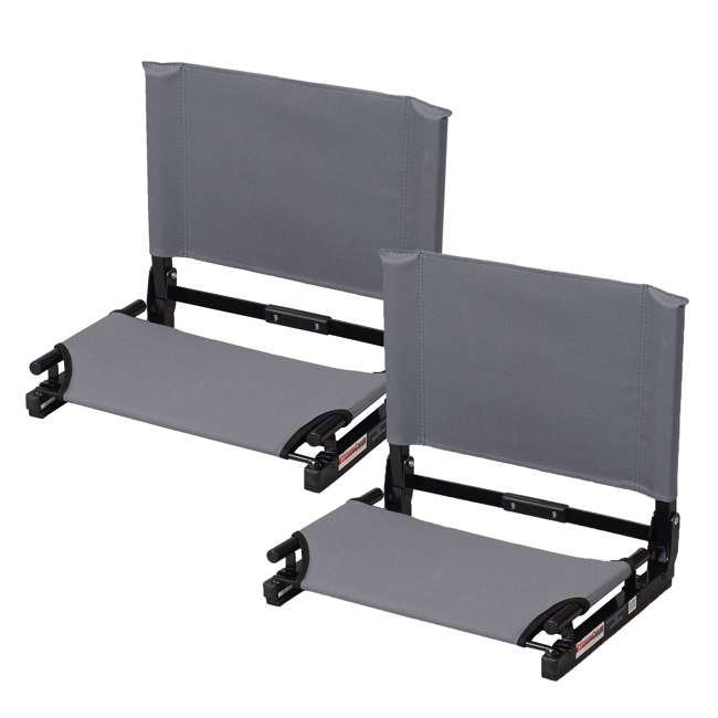 SC2-GRAY Stadium Chair Game Changer Bleacher Seat, Gray (2 Pack)