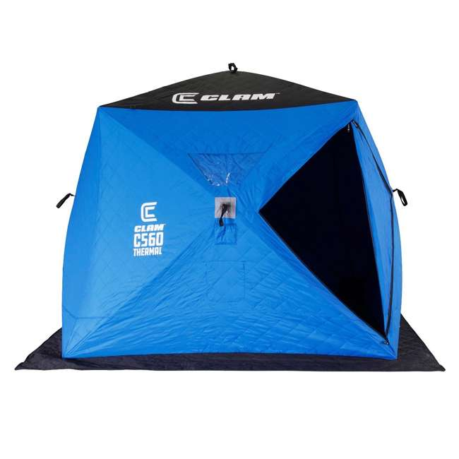 CLAM-14477 Clam 14477 C-560 Thermal 7.5 Foot Pop Up Ice Fishing Angler Hub Shelter, Blue