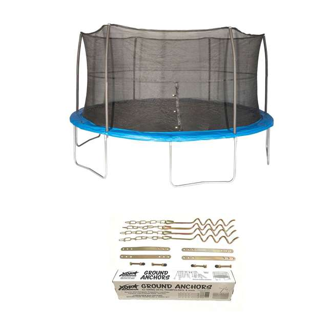 JK15VC2-BOX1 + JK15VC2-BOX2 + XDP-70113 JumpKing 15 Foot Trampoline and XDP Recreation Ground Anchor Kit