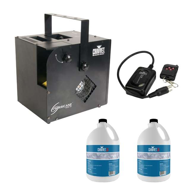 HURRICANE-HAZE2D + 2 x FJU + FC-W Chauvet DJ Hurricane Haze 2D Smoke Machine, Fog Juice (2 Pack) & Wireless Remote