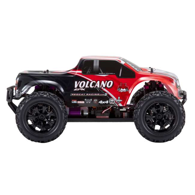 4 x VOLCANOEP-94111-RedBlack-24 Redcat Racing Volcano EPX 1:10 Scale RC Monster Truck, Red (4 Pack) 3