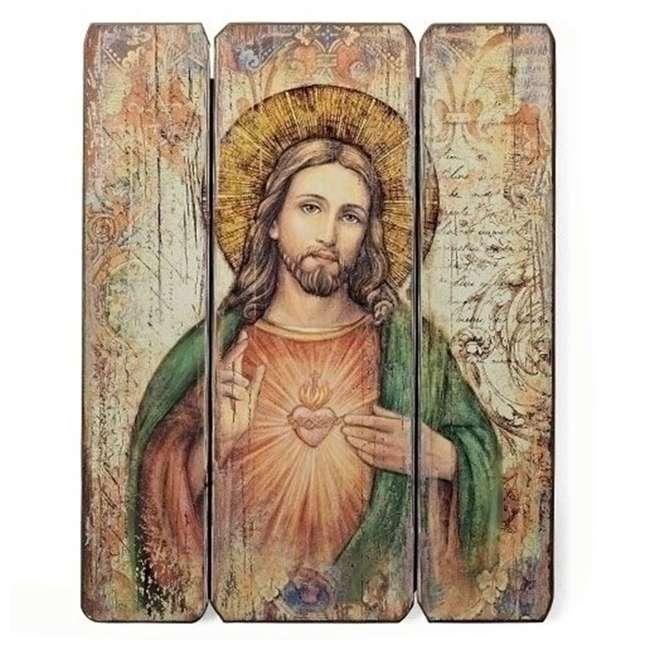 RM-69918 Roman, Inc. Roman 15 Inch Sacred Heart of Jesus Wooden Wall Panel Art