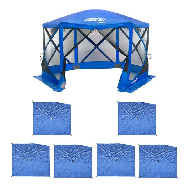 CLAM-ESS-14203 + 2 x CLAM-WP-ESS-14205 Clam Quick Set Tailgating Shelter + Wind & Sun Panels (6 pack)