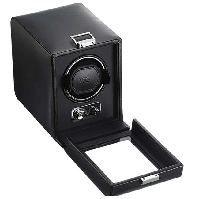 270002 WOLF 270002 Heritage Compact Electric Single Watch Winder with Cover, Black 1
