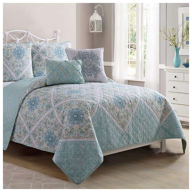 WIN-4QT-XTWN-IN-AQ VCNY Home Windsor Floral Medallion 4 Piece Reversible Bed Quilt Set, Twin XL 4