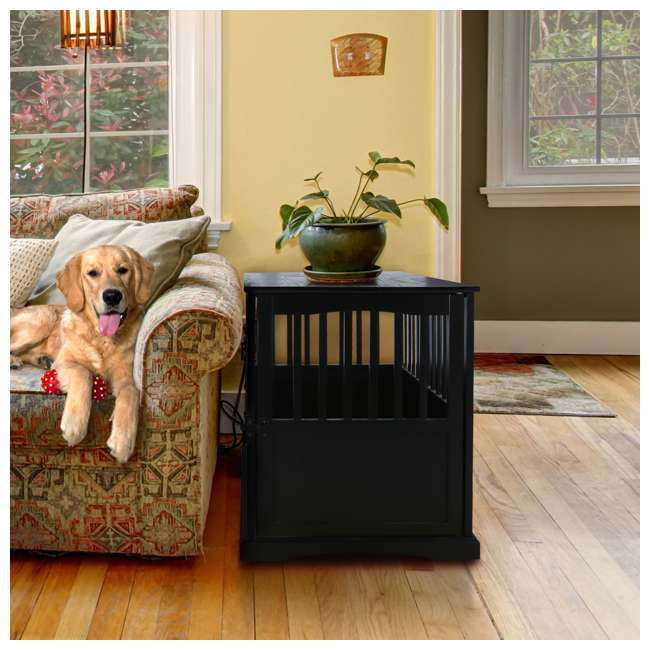 600-22 Casual Home Large Pet Crate End Table, Black 6