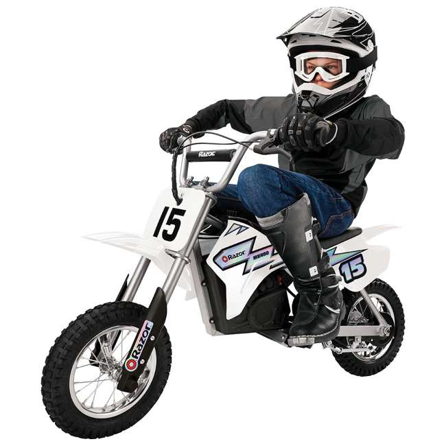 15128008 + 97775 Razor MX400 Dirt Rocket Electric Motorcycle, White + Helmet 2