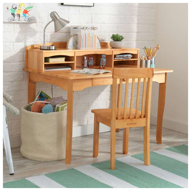 26707 KidKraft Avalon Wooden Kids Room Study Desk with Hutch & Chair Set, Natural 2