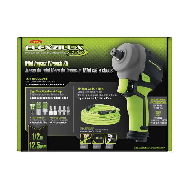 AT8505FZ Flexzilla AT8505FZ Pro Mini Impact Wrench Kit with Couplers, Plugs, and Fittings 4