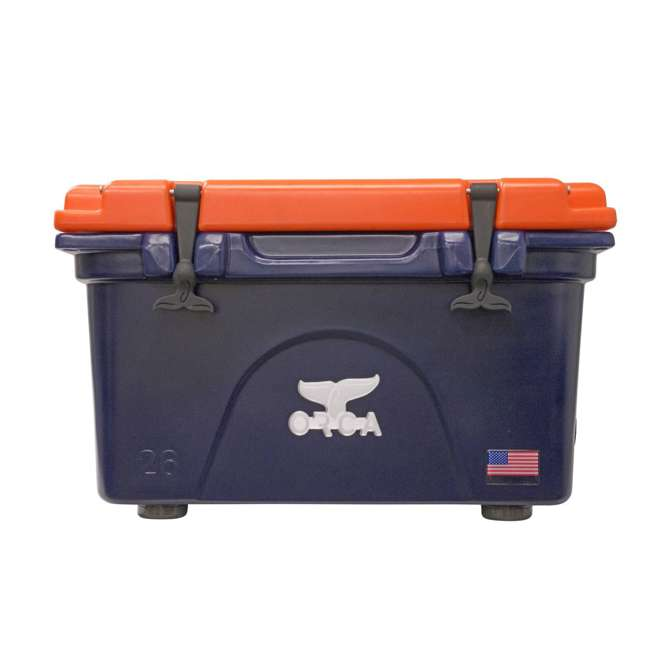 ORCNA/ORO26 Orca 26 Quart 24 Can Ice Chest Cooler Roto Molded Insulated, Navy and Orange