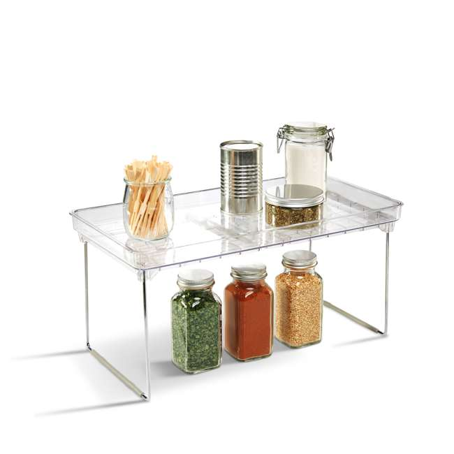 3 x 29081 Madesmart Large Clear Stacking Cabinet Storage Shelf (3 Pack) 5