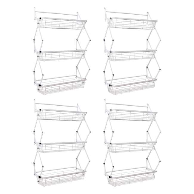 4 x OTD-3R-WHI Supermoon Products Over the Door 3 Tier Hanging Rack (4 Pack)