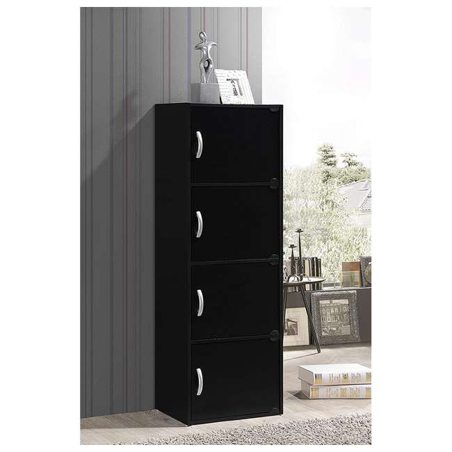HID4 BLACK Hodedah 4 Door Enclosed Multipurpose Storage Cabinet for Home or Office, Beech 1