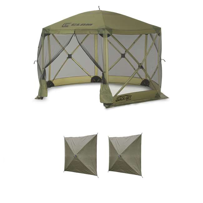 CLAM-ES-9281 + CLAM-WP-2PK-9896 Clam Quick Set Canopy Shelter + Wind & Sun Panels (2 pack)