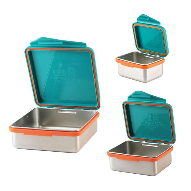 796515002867 + 796515002737 + 796515002836 Kid Basix Safe Snacker 23oz Stainless Steel Lunch Box + 7oz and 13oz Containers