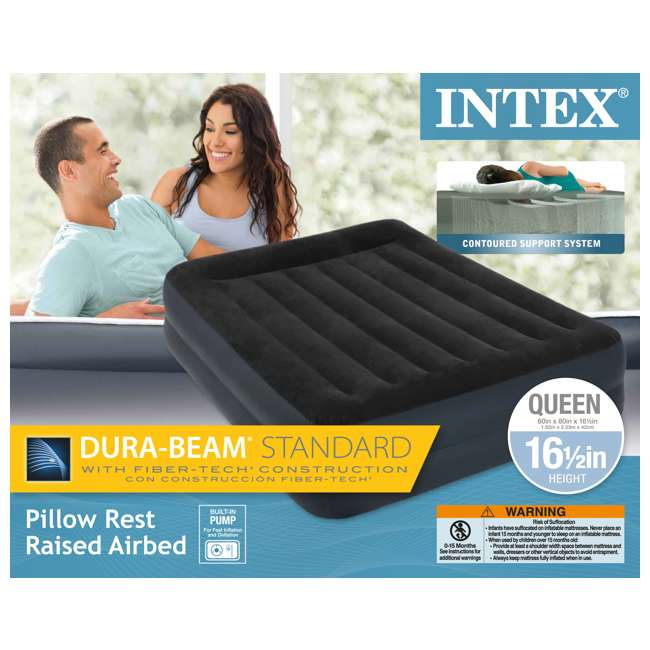 64123E-U-A Dura-Beam Pillow Airbed w/ Fiber-Tech Built-In Pump, Queen (Open Box) (2 Pack) 5