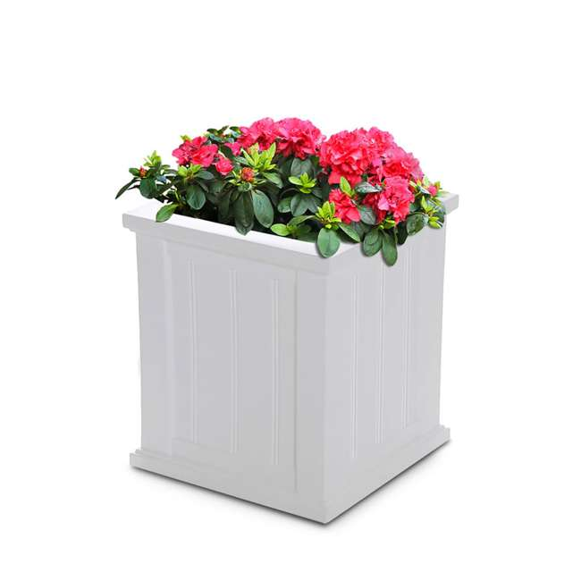 MO-4837-W Mayne Cape Cod Large 16 In Square Plastic Outdoor Flower Pot Planter Box, White