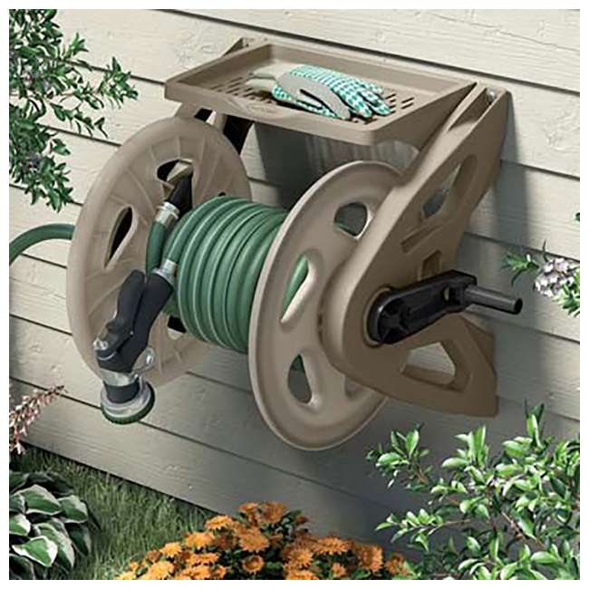 WMS200 Suncast Handler 200 Ft Resin Wall Mounted Outdoor Garden Hose Reel, Taupe (Used) 1
