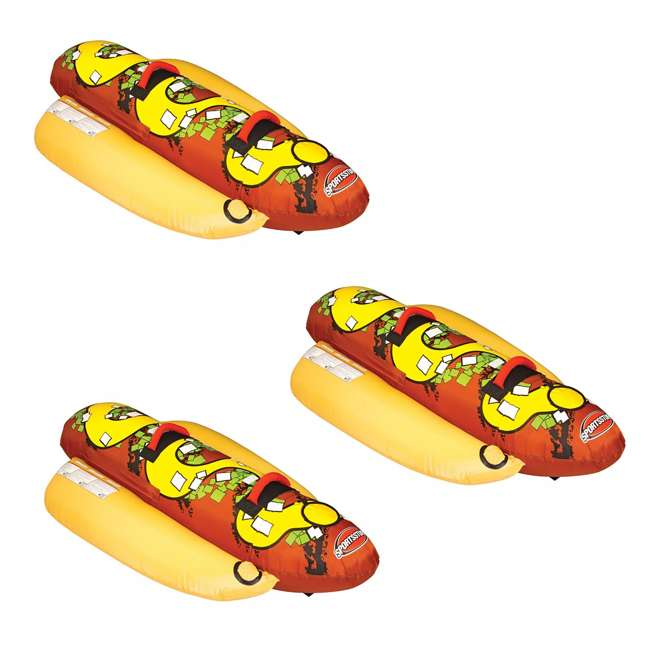 3 x 53-3055 Sportsstuff Hot Dog 2 Person Towable Tube (3 Pack)