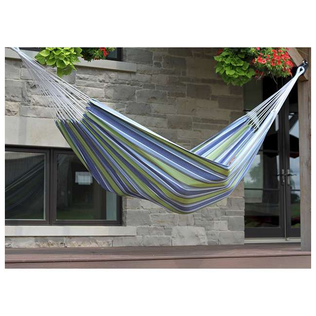 BRAZ130 Vivere Brazilian Style Cotton One Person Outdoor Patio Hammock, Plumeria (Used) 10