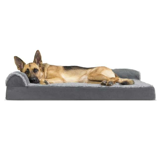 64541087BX Furhaven Deluxe Memory Foam L Shaped Chaise Sofa Pet Dog Bed, Stone Gray, Jumbo 1