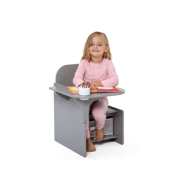 TC83760GN-026 Delta Children MySize Kids Toddler Wooden Chair Desk with Storage Bin, Gray 2